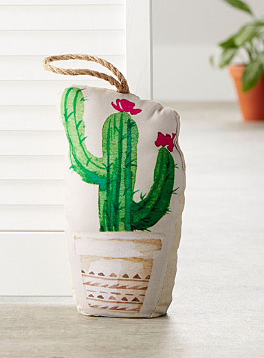 Potted cactus door stop