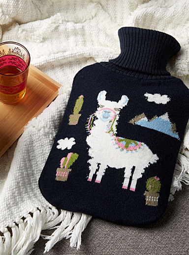 Festive llama hot-water bottle