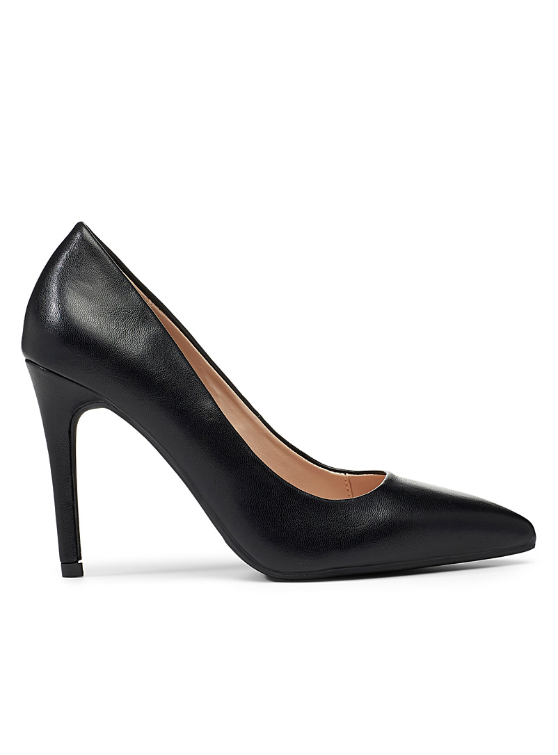 Simons Black Pointed faux-leather pumps for women