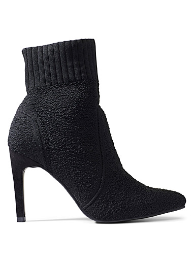 Textured stiletto heel boots