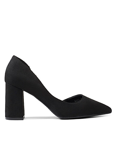 Simons Black Faux-suede block-heel pumps for women