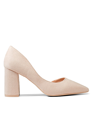 Faux-suede block-heel pumps