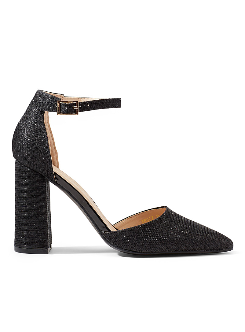 Simons Black Shimmery block heel shoes for women