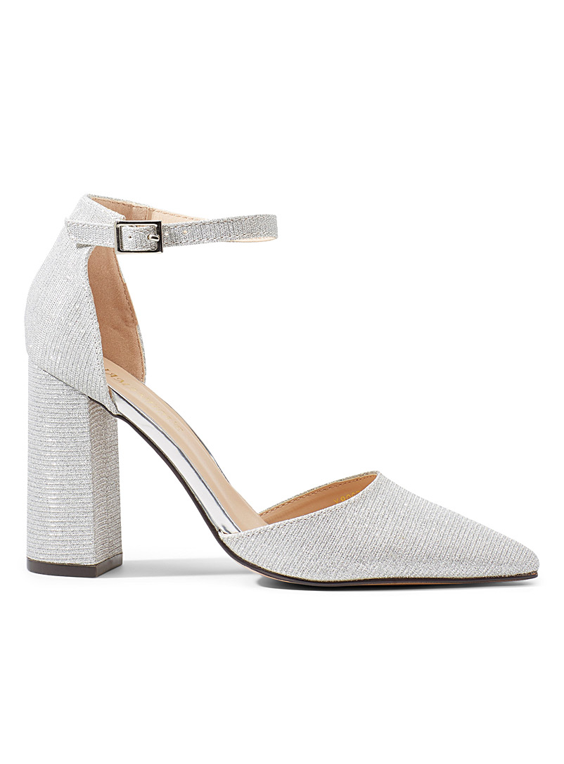 Simons Silver Shimmery block heel shoes for women