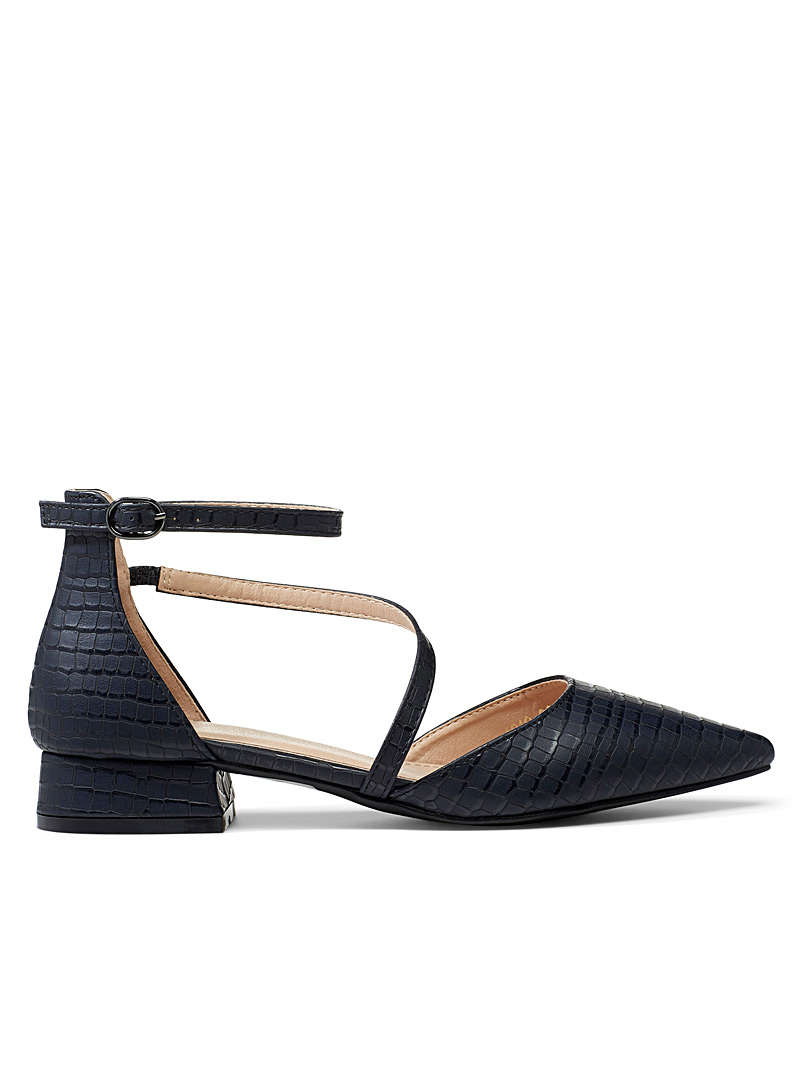 Simons Black Croc crossed strap ballet flats for women