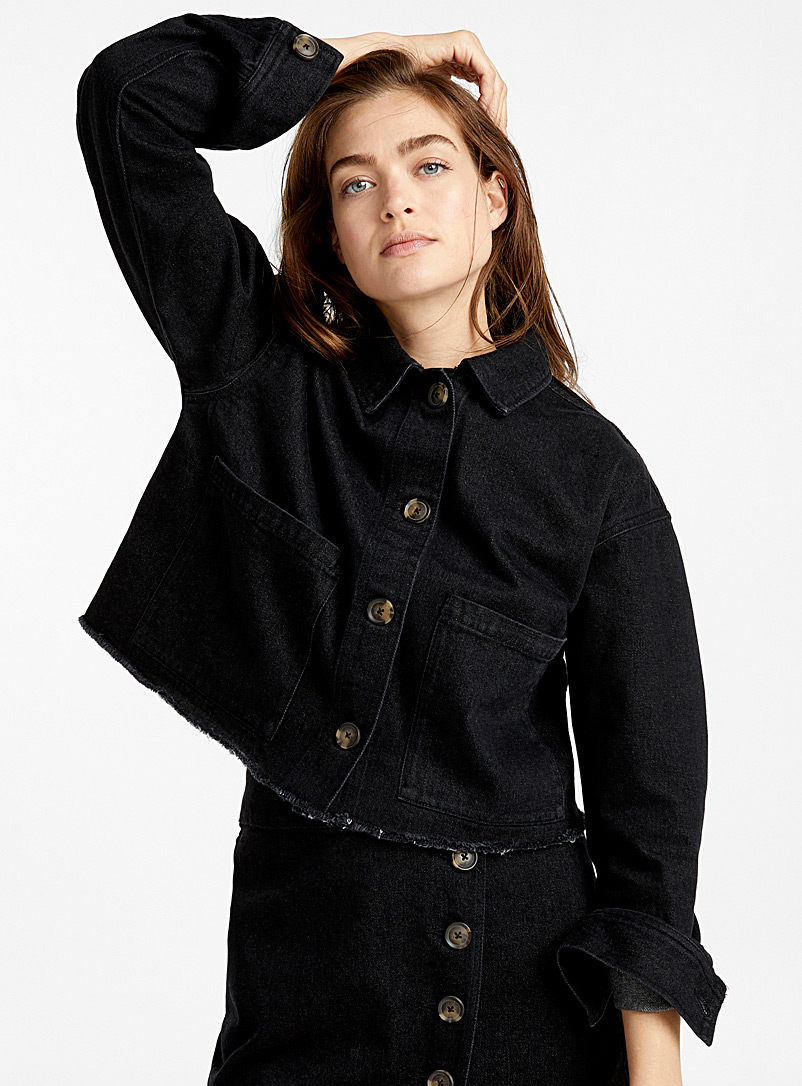 Raw-cut denim jacket - Denim Jackets - Black