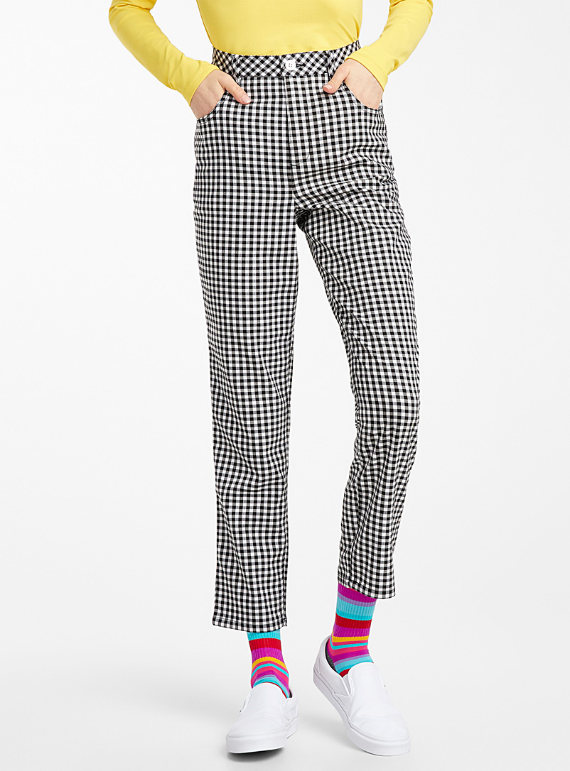 Twik Patterned Black Recycled polyester mini-check straight pant for women
