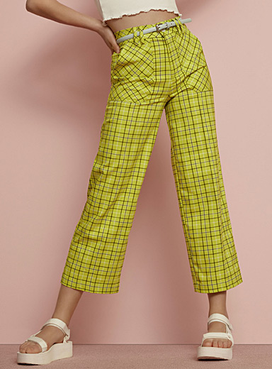 Twik Patterned Green Plaid carpenter pant for women