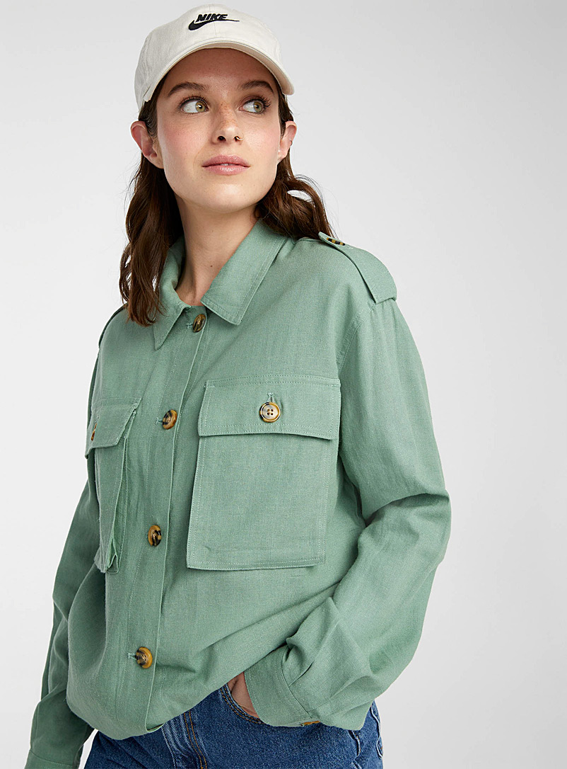 Twik Lime Green Linen utility shirt for women