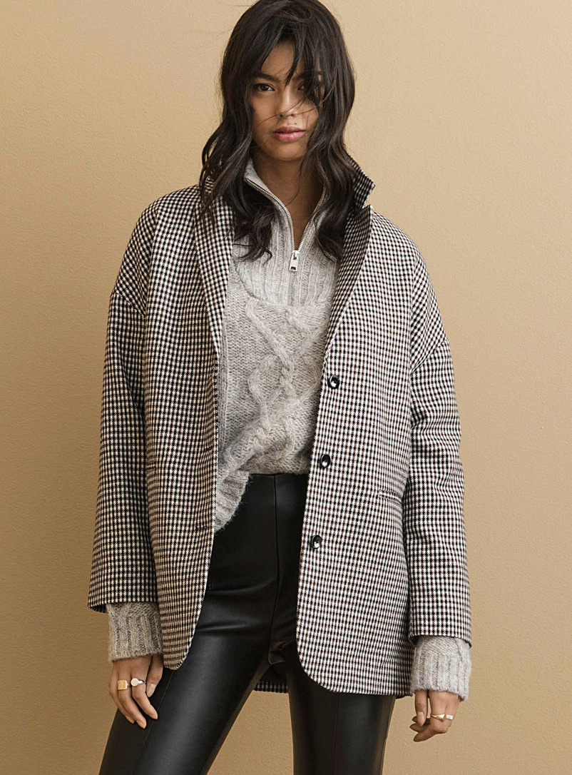 Oversized micro-check jacket