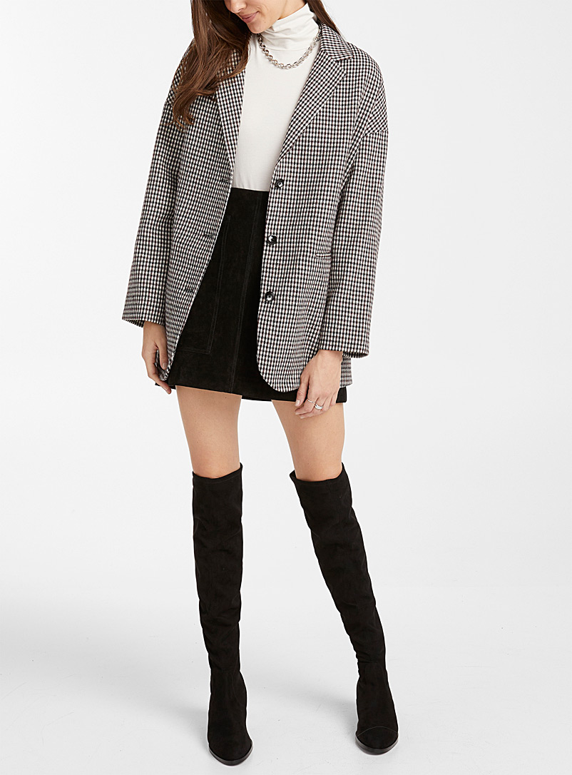 Icône Patterned White Oversized micro-check jacket for women