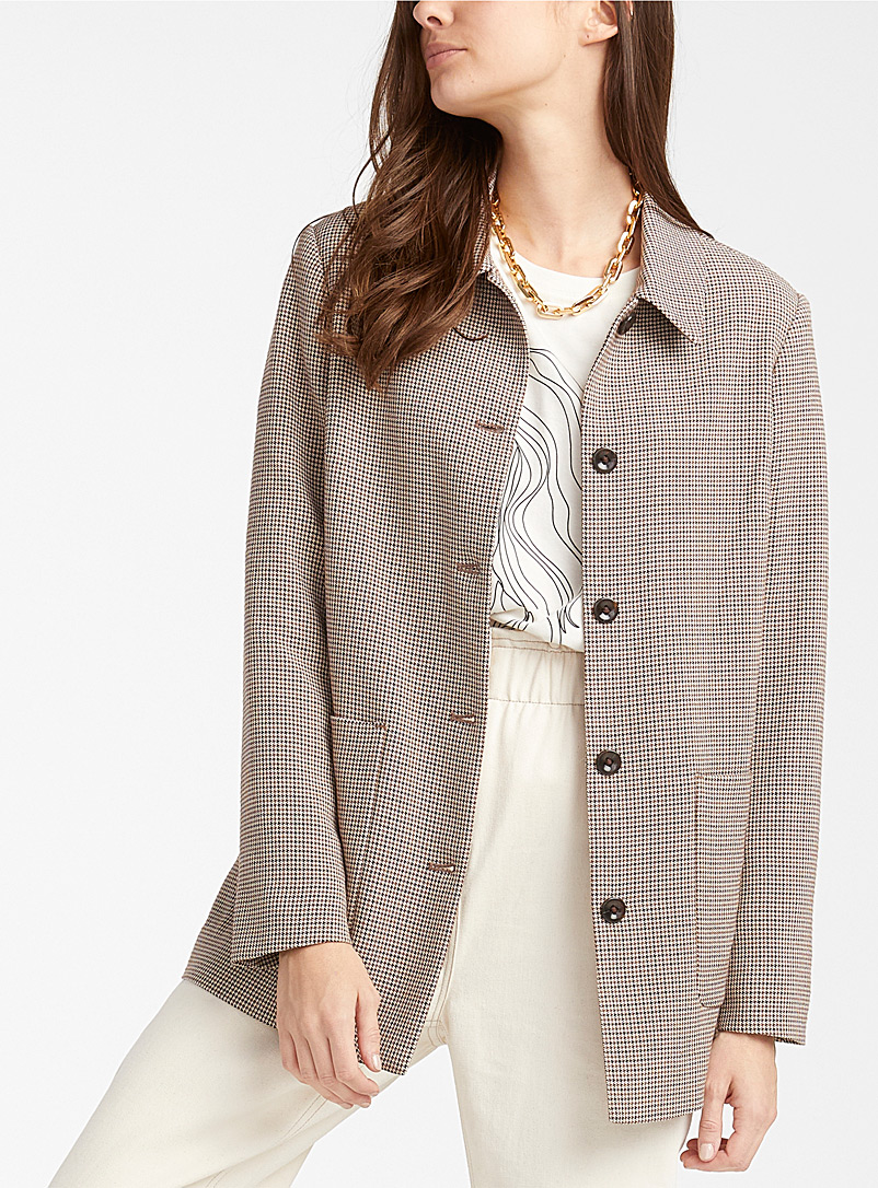 Icône Patterned Brown Houndstooth shirt jacket for women