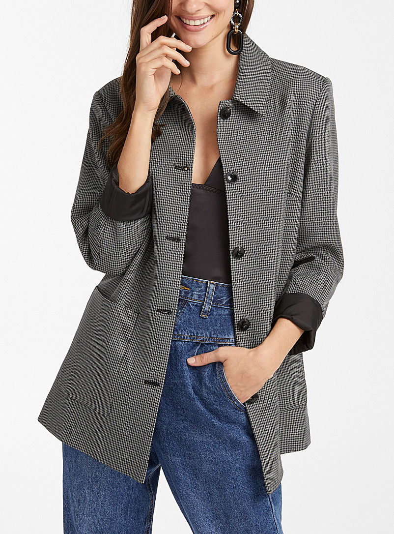 Icône Patterned Black Houndstooth shirt jacket for women