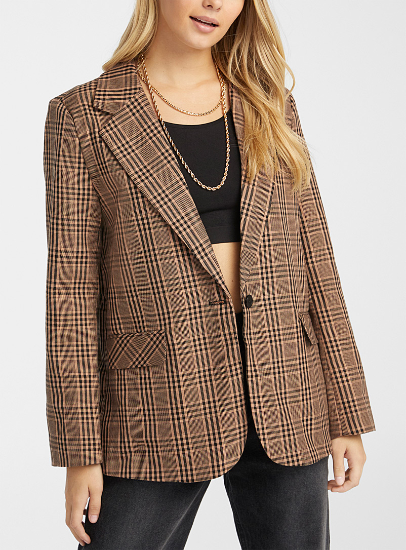 Twik Patterned Brown City check blazer for women