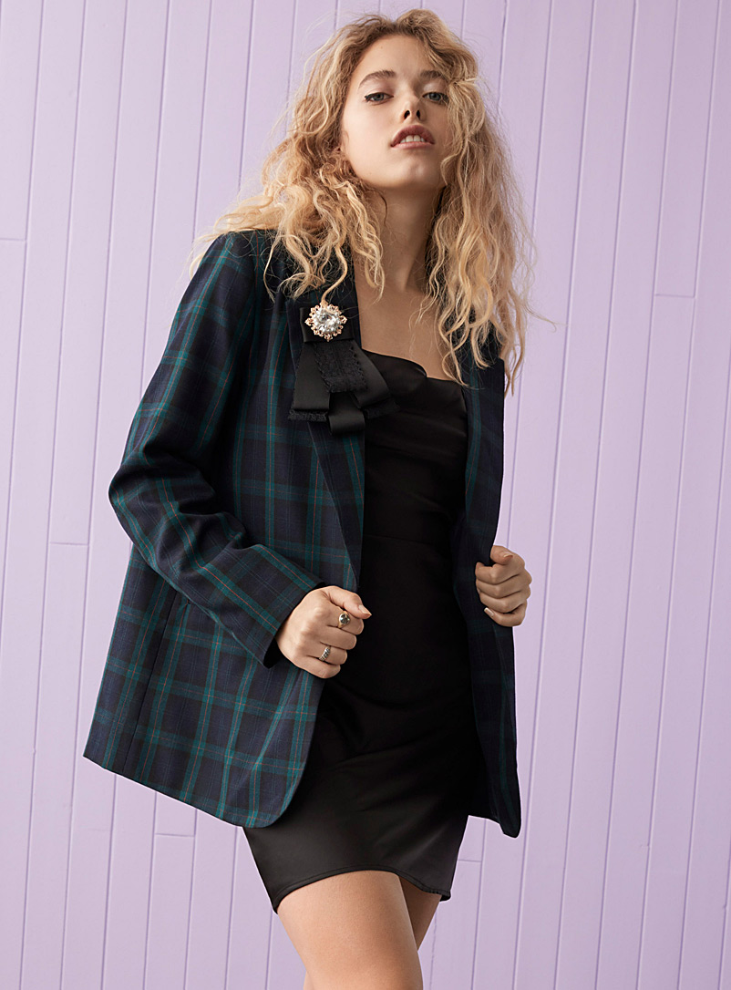 Twik Patterned Blue City check blazer for women