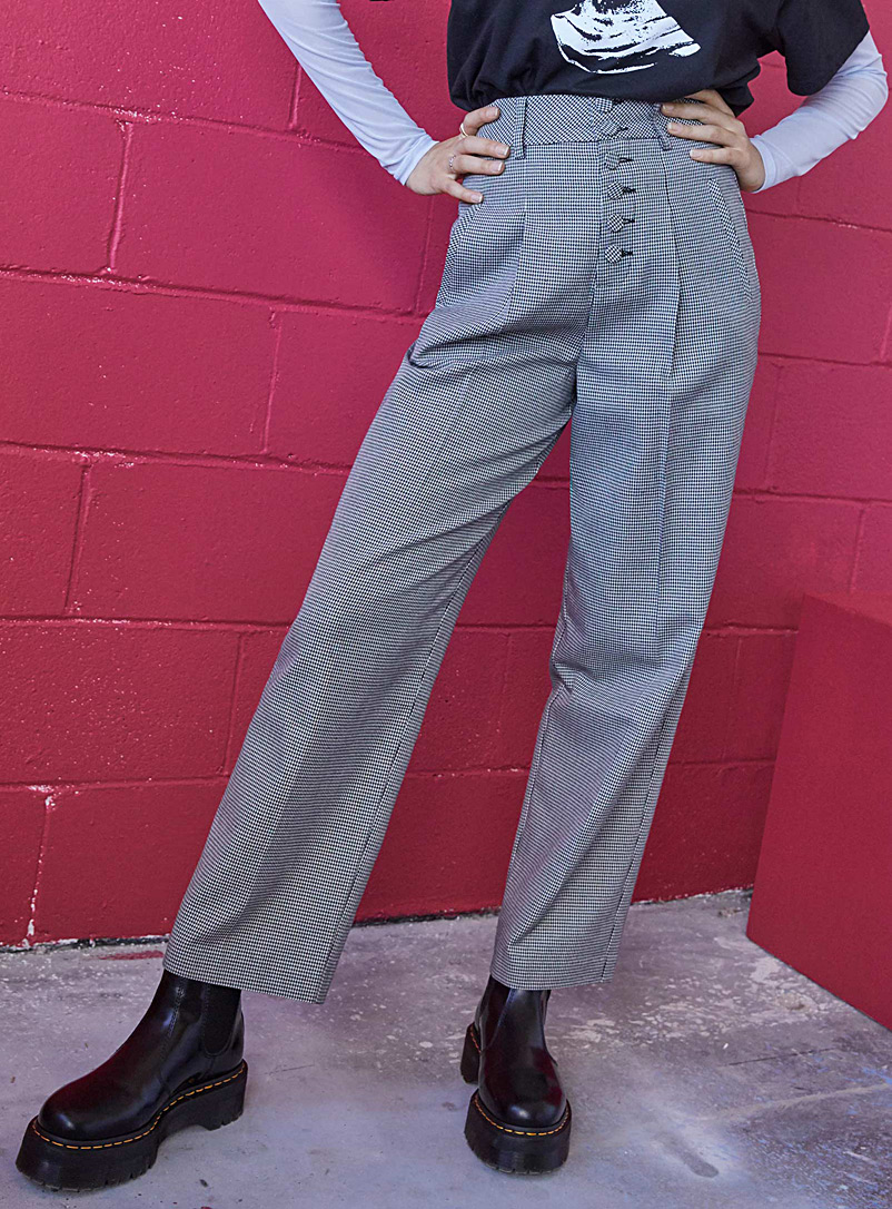 Twik Patterned White Retro-button straight pant for women