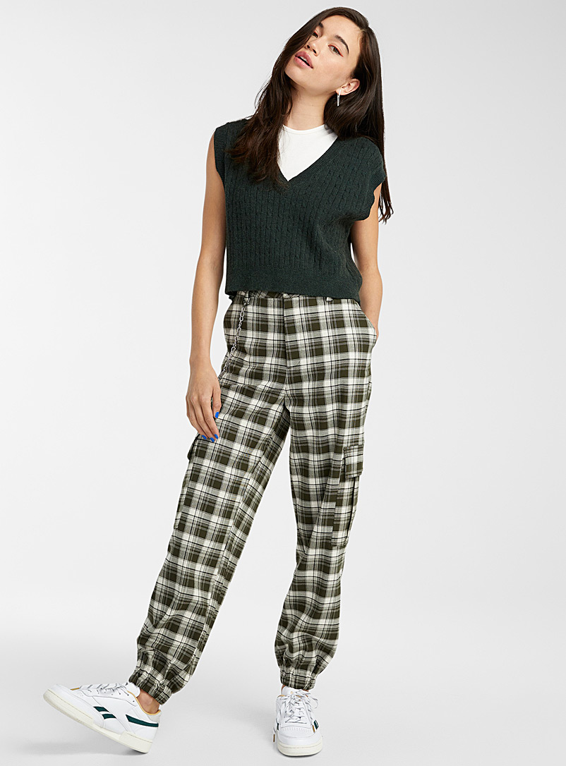 Twik Assorted Plaid cargo joggers for women