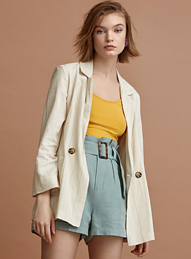 Two-button linen jacket