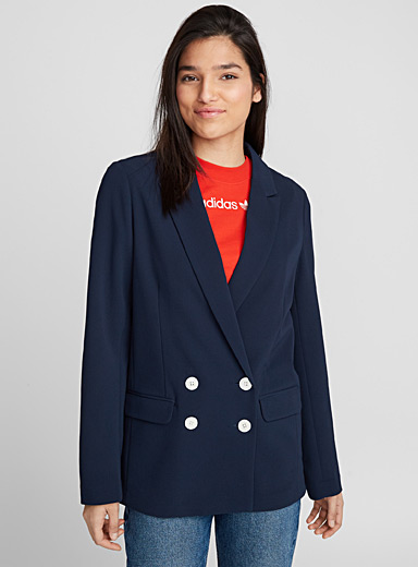 Double-breasted crepe jacket