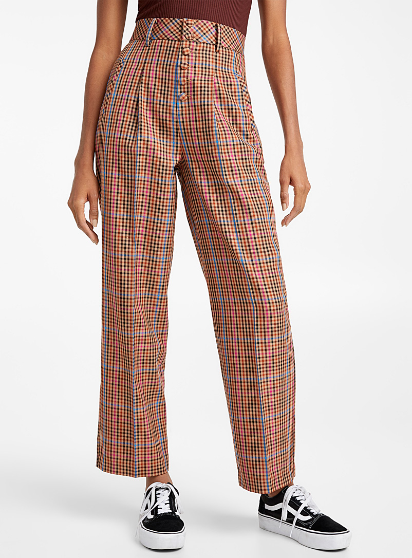 Buttoned puchy check pant - Straight - Patterned Brown