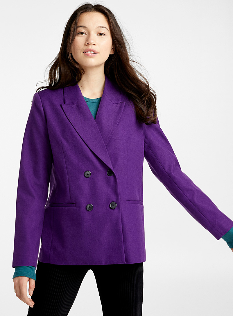 Double-breasted loose jacket - Blazers - Crimson
