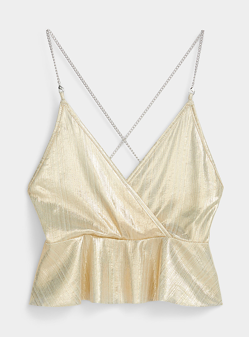 Icône Ivory White Shiny chain-strap top for women