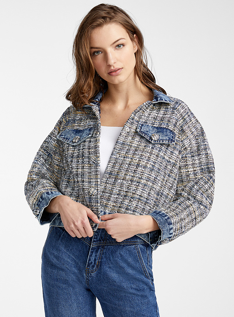 Ic?ne Assorted Crystal tweed jean jacket for women