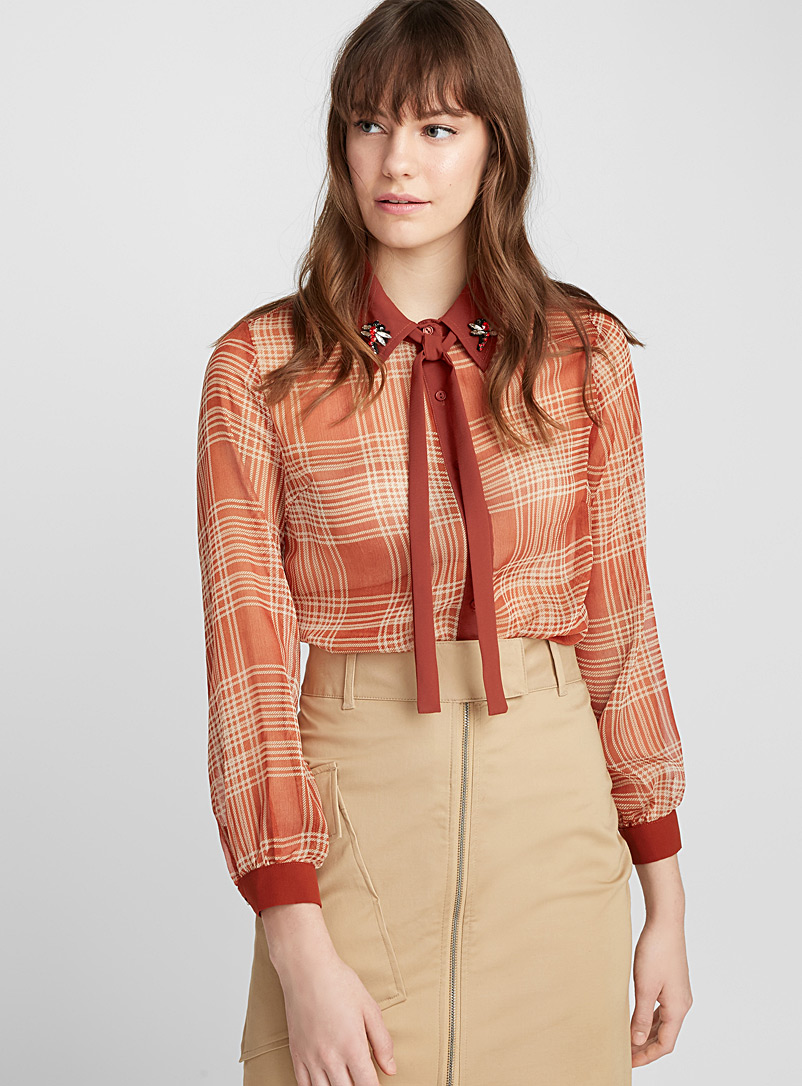 Jewelled-collar tartan shirt - Shirts - Copper