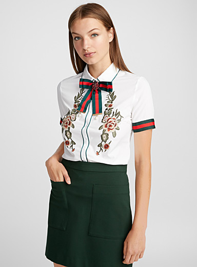 Jewel band embroidered blouse