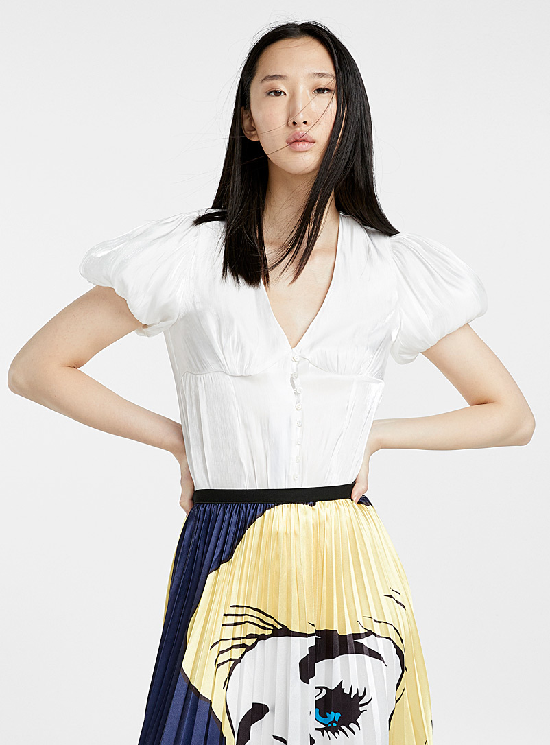 Puff-sleeve shiny satin blouse - Crop Tops - White