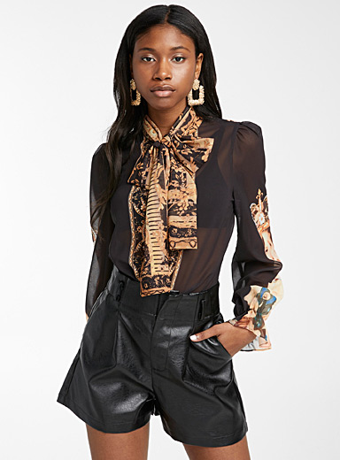 Royal print sheer shirt