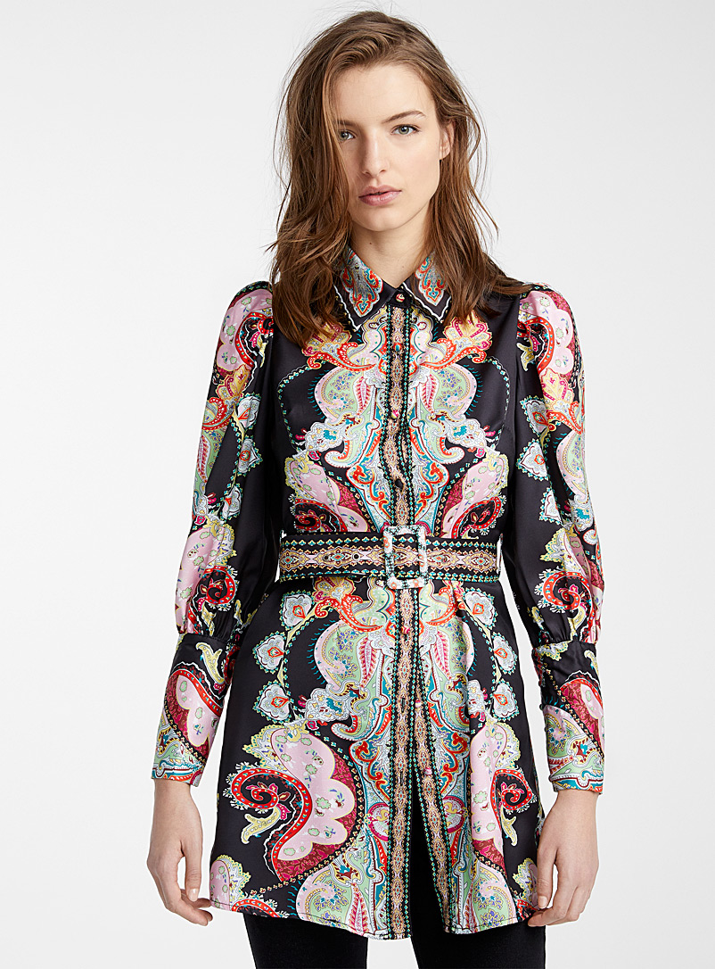 Pastel paisley satin tunic - Shirts - Patterned Black