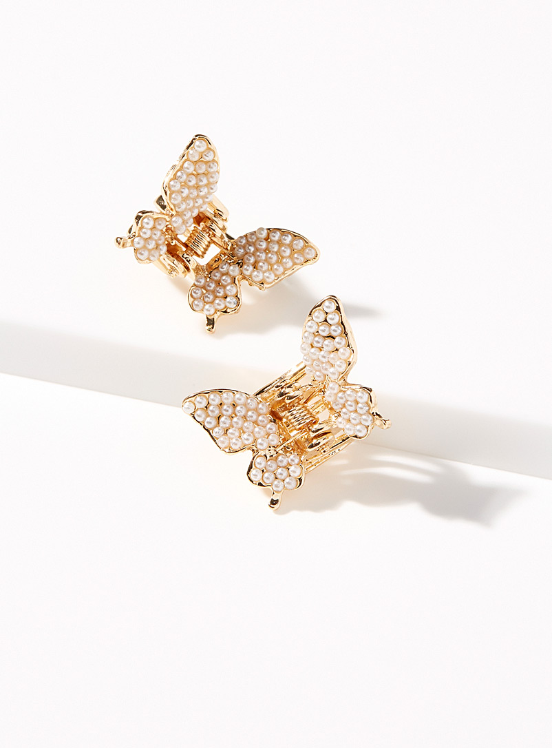 Simons Assorted Pearly butterfly small clips Set of 2 for women
