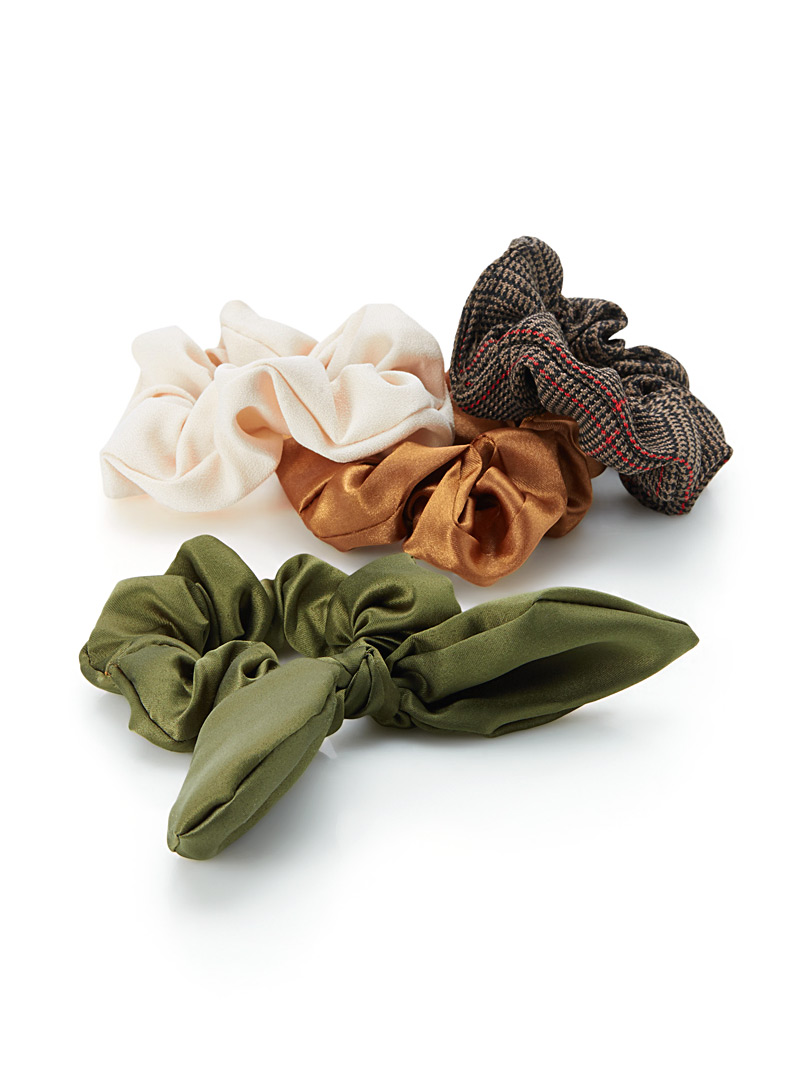 Assorted scrunchies  Set of 4 - Scrunchies - Patterned Grey