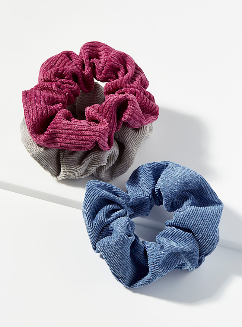 Simons Assorted blue Colourful corduroy scrunchies  Set of 3 for women
