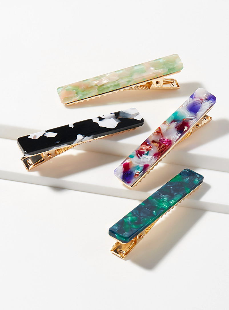 Multicolour accent clips  Set of 4