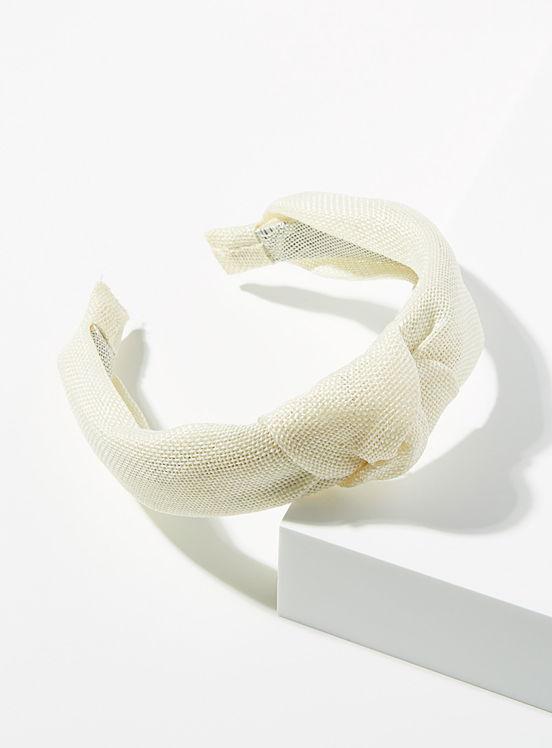 Simons Cream Beige Ivory knot headband for women