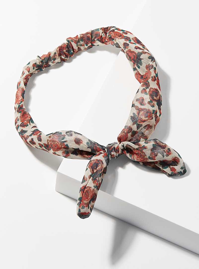 Simons Patterned White Floral bow headband for women