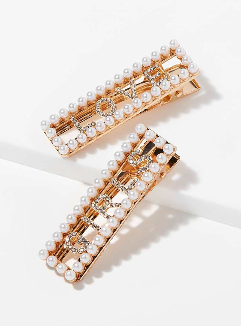 Simons Assorted Rhinestone and pearl clips  Set of 2 for women