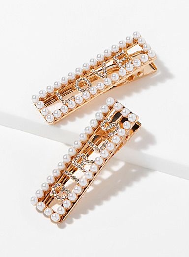 Rhinestone and pearl clips <br>Set of 2