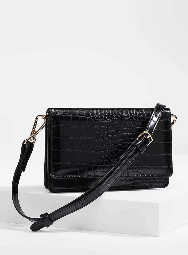 Simons Black Croc phone clutch for women