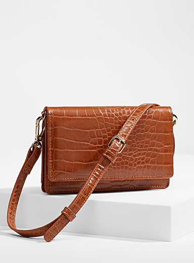 Simons Brown Croc phone clutch for women