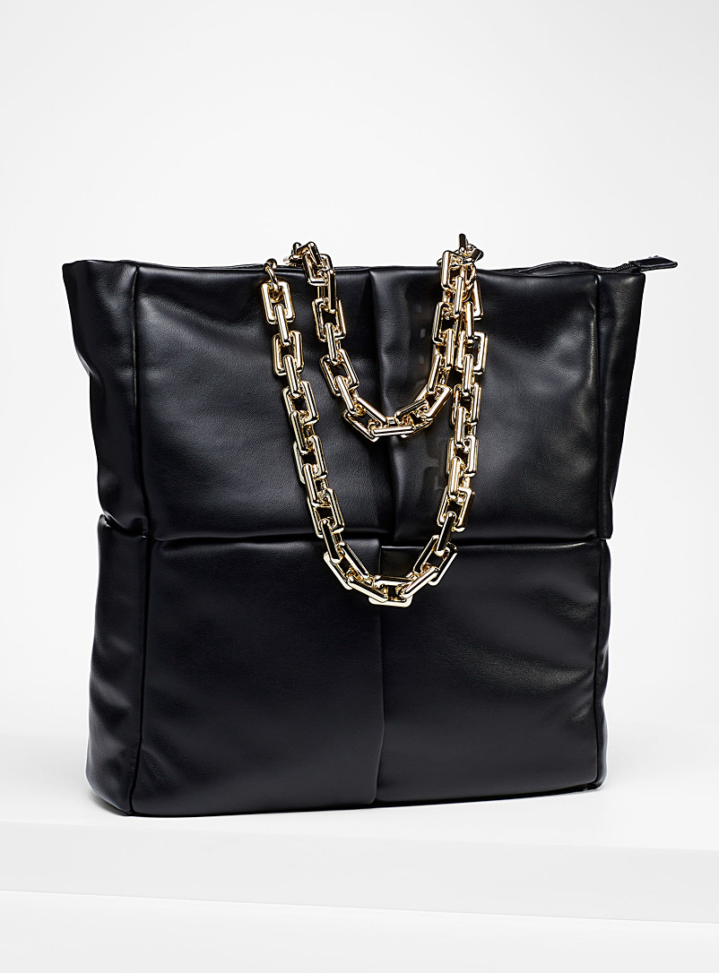 Simons Black Crossover quilted tote for women