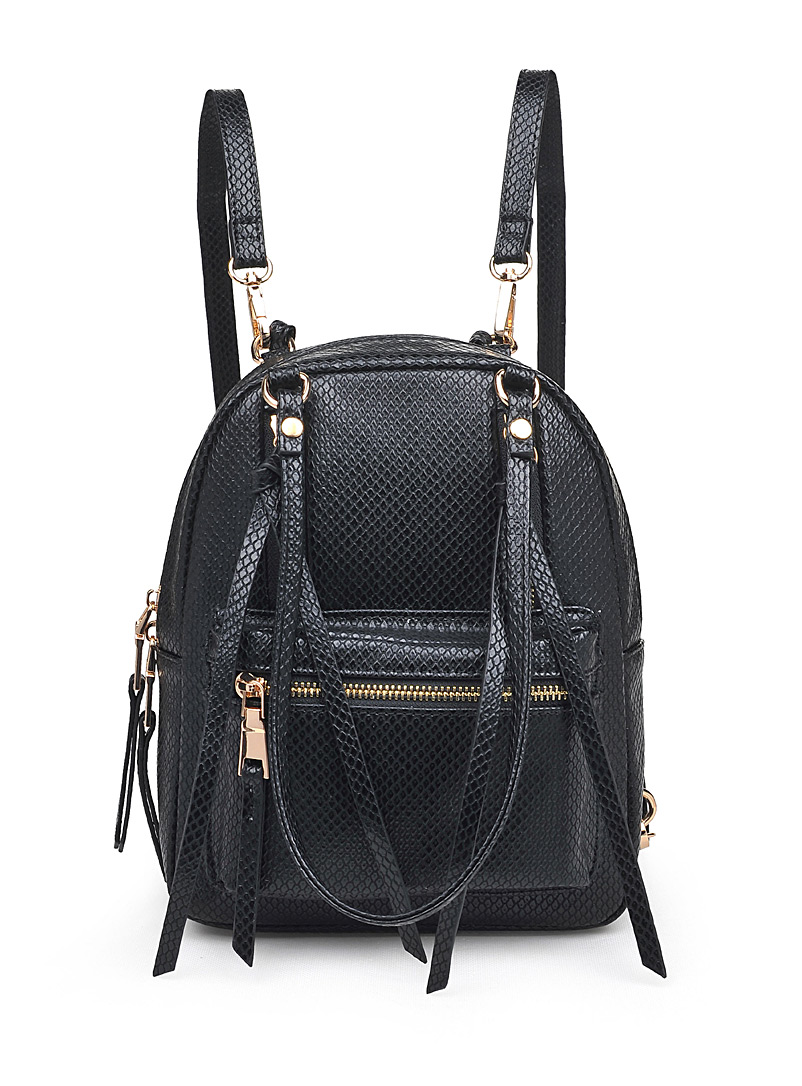 Simons Black Scale-textured backpack for women