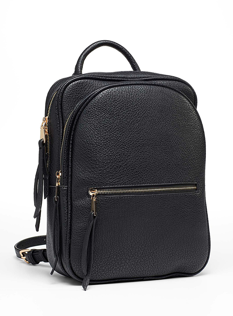 Simons Black Double pebbled backpack for women