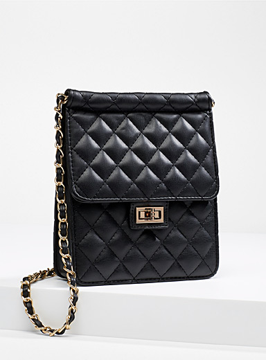 Simons Black Chain shoulder strap quilted bag for women