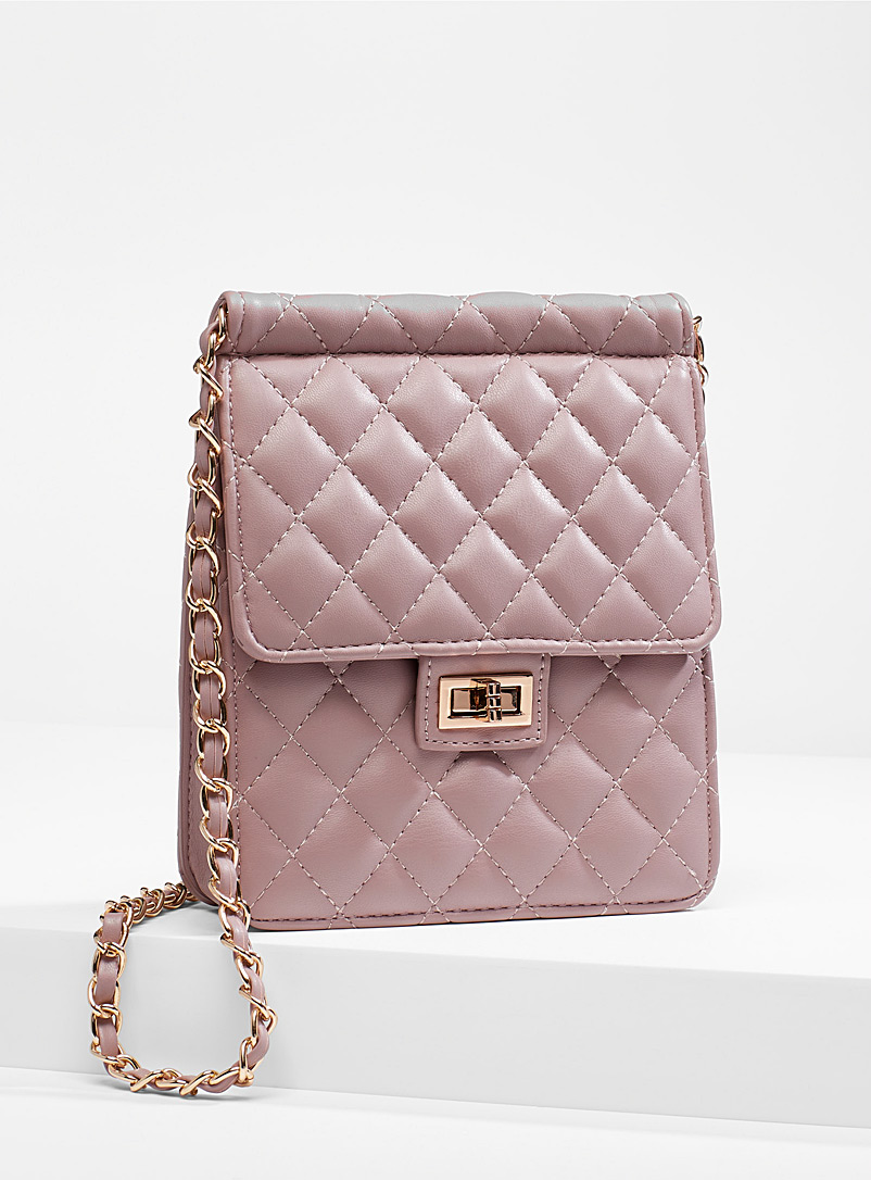 Simons Lilac  Chain shoulder strap quilted bag for women