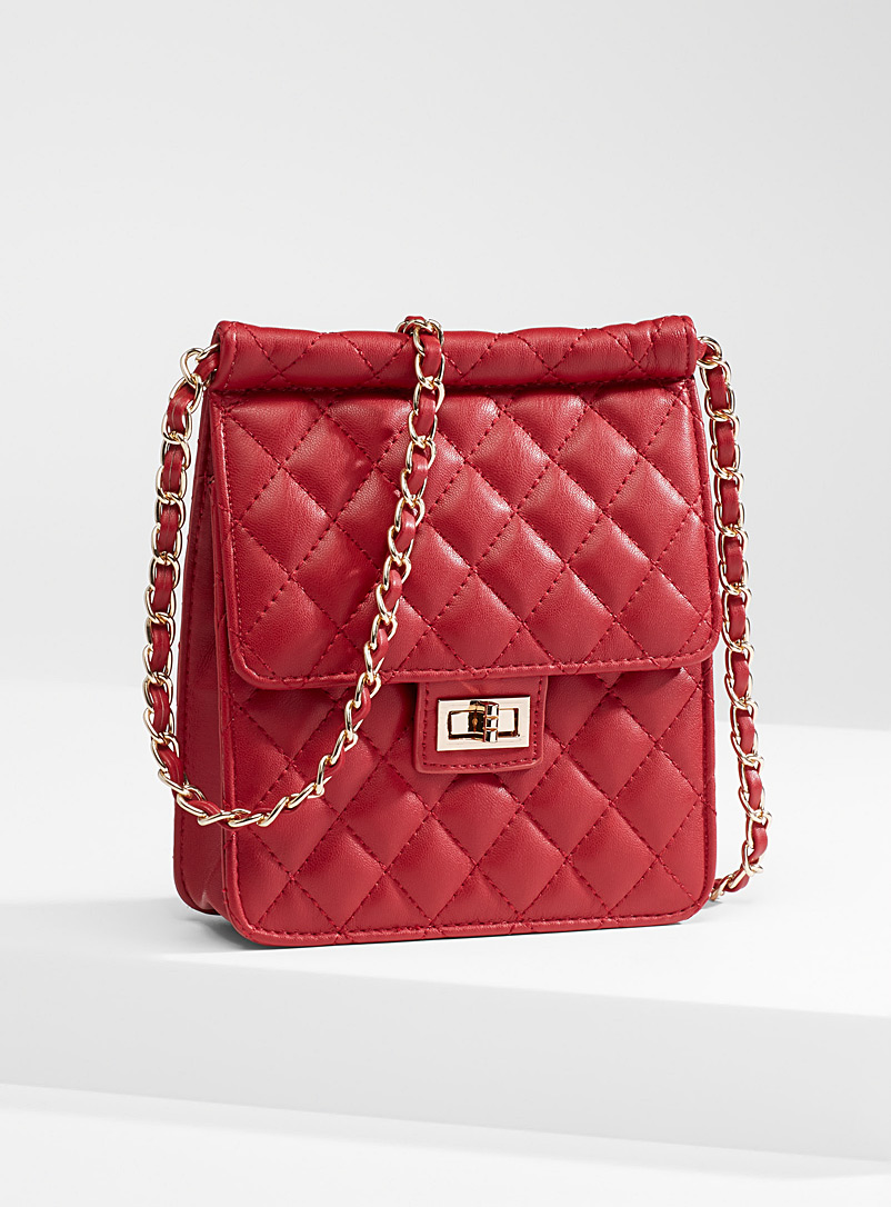 Simons Red Chain shoulder strap quilted bag for women