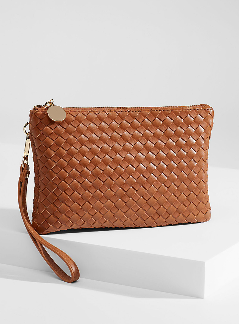 Simons Brown Braided monochrome clutch for women