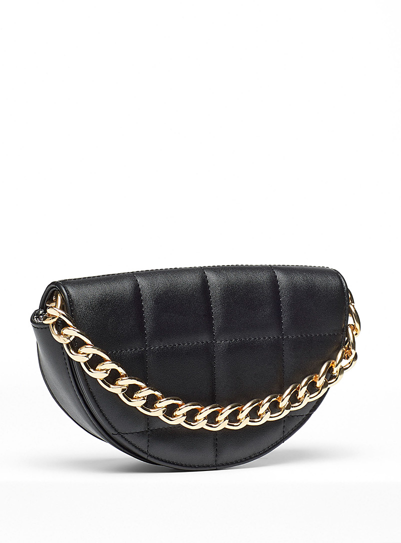 Simons Black Quilted half-moon bag for women
